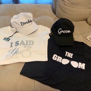 Engaged shirts and matching hats